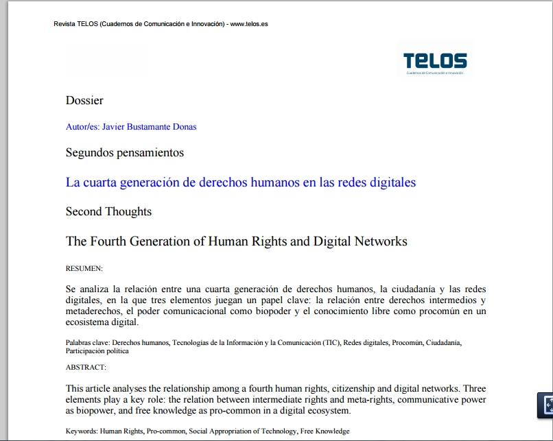 La cuarta generación de derechos humanos en las redes digitales ...